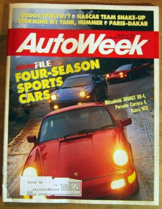 AUTOWEEK 1991 FEB 04 - NSX vs CARRERA 4 vs 3000GT VR-4