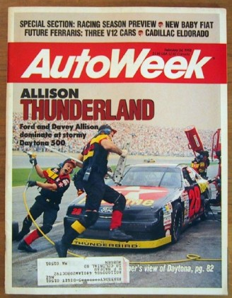 AUTOWEEK 1992 FEB 24 - NEW JETTA & ELDORADO, '92 RACING