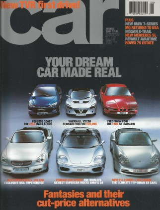 CAR MAGAZINE 2001 AUG - TAMORA, Z8 v 360 SPIDER, SC430 v XK8 v 206CC