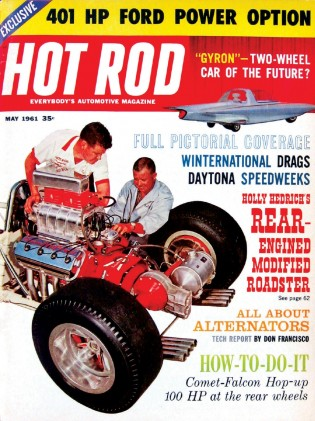 HOT ROD 1961 MAY - 99 RACING, GYRON, DAYTONA, 409