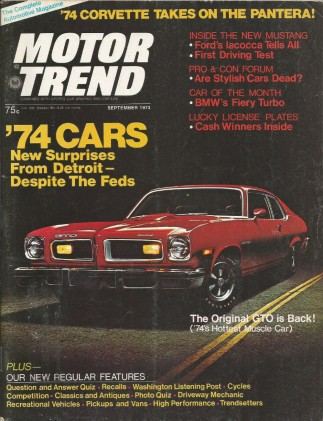 MOTOR TREND 1973 SEPT - BMW TURBO, VETTE vs. PANTERA