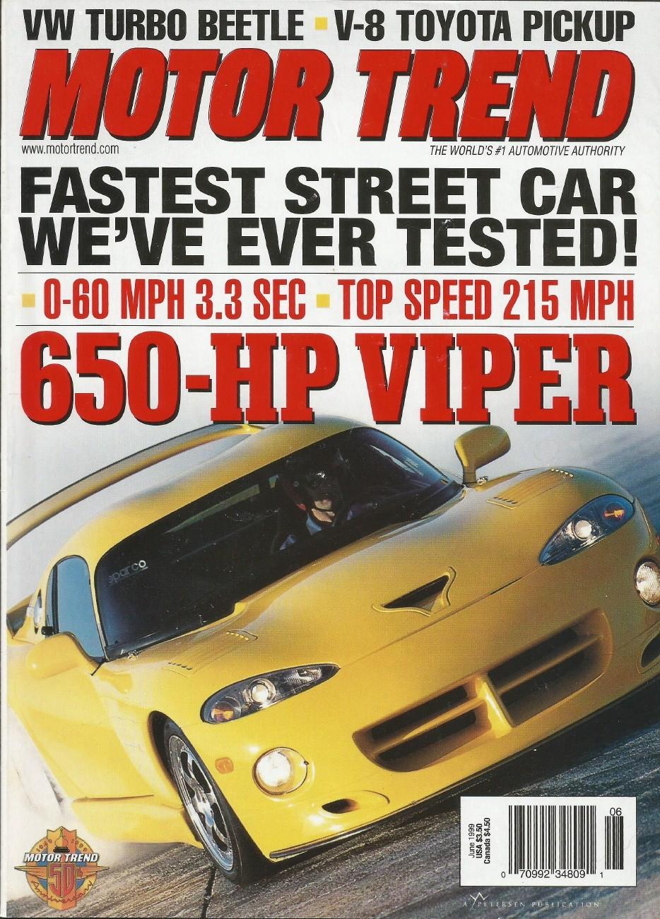 MOTOR TREND 1999 JUNE - HENNESSY, LIGHTNING, AMG E55 - 1990-1999 - JIM'S  MEGA MAGAZINES