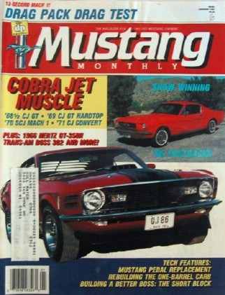 MUSTANG MONTHLY 1987 JAN - COBRA JET SPECIAL, PAXTON