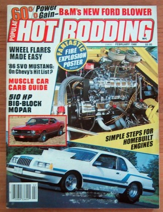 HOT RODDING 1986 FEB - CHALLENGER T/A, MACH 1, OLDS