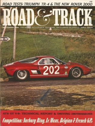 ROAD & TRACK 1964 SEPT - D-TYPE, ATS GT, MUSTANG 289