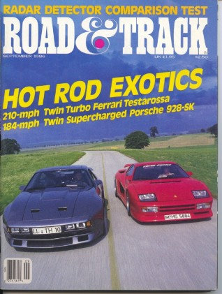 ROAD & TRACK 1986 SEPT - SUPERCARS, VETTE vs. G.N.