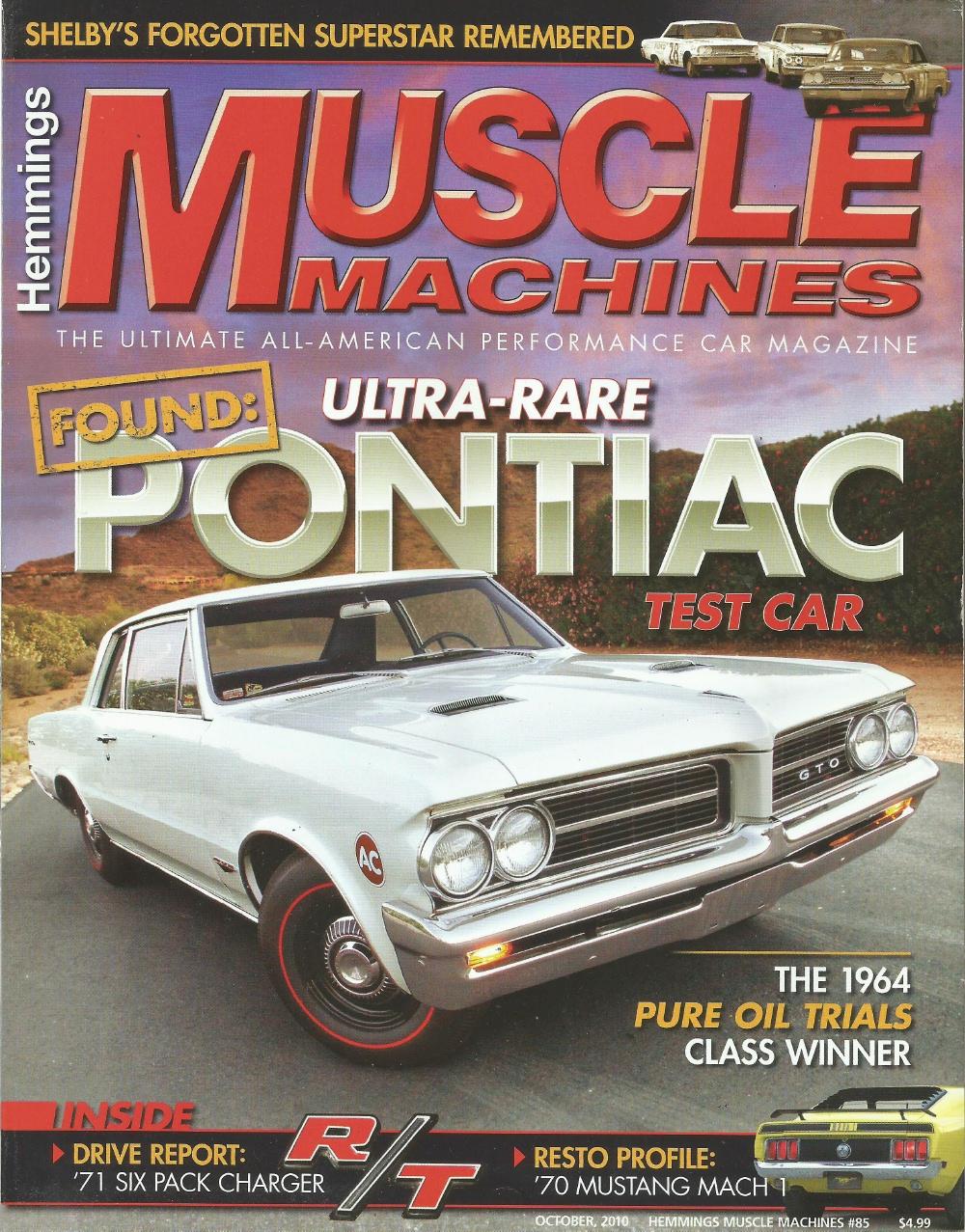 HEMMINGS MUSCLE MACHINES 2010 OCT - RARE GTO, 440-6, 427 L72, AMC -  2010-2019 - JIM'S MEGA MAGAZINES